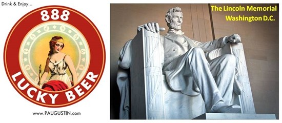 Lincoln Memorial and 888 Lucky Beer Logo