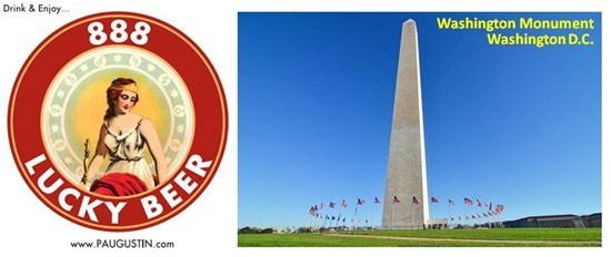 Washington Monument and 888 Lucky Beer Logo