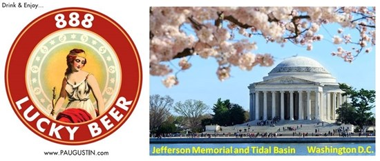 Jefferson Memorial and 888 Lucky Beer Logo